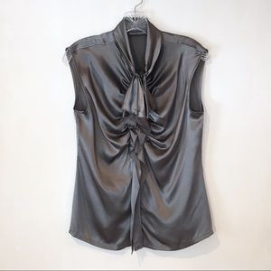 Chelsea & Theordore | silk grey ruffle zipper top
